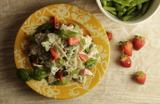 Photo of Creamy Feta, Snap Pea & Strawberry Pasta Salad